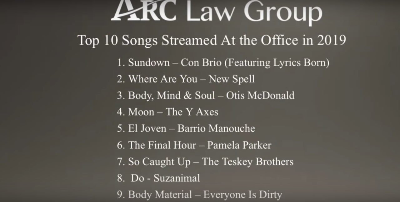 These are the Top 10 songs played at the ARC Law Group offices in 2019